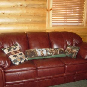leather couch inside cabin.